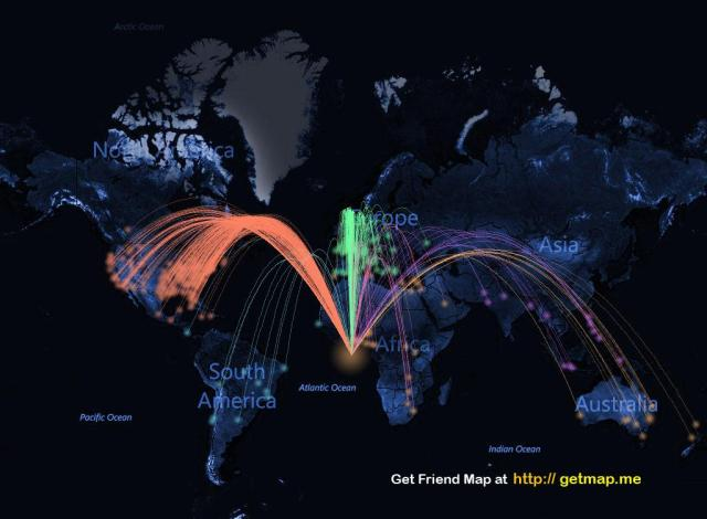 A MAP OF FRIENDS AND READERS FROM ALL OVER THE WORLD via Facebook
