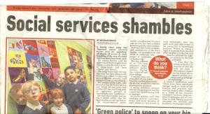 A family court judge has slammed social services . ~  Northants Herald & Post, Thursday 5 February 2015